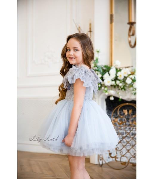 Детское нарядное платье Шанти, цвет голубой с серым кружевом