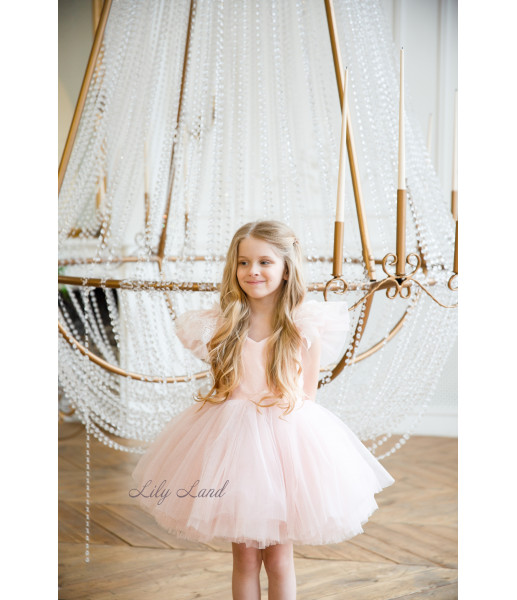 Детское нарядное платье Шанти, цвет нежно розовый