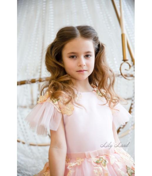 Детское нарядное платье Шарлис, цвет розовая пудра