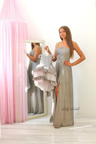 Комплект нарядных  платьев Шейн, цвет серый с розовым