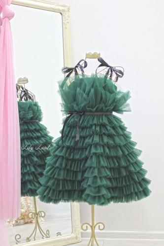 Детское нарядное платье Софи, цвет темно-зеленый