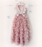 Детское платье Урсула, цвет пудра и темный пауп