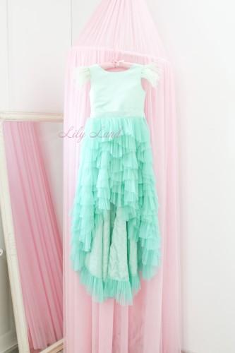 Детское платье Урсула, цвет мята с перьями