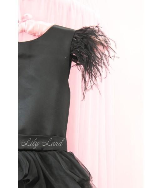 Детское платье Урсула, цвет черный с перьями