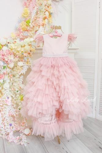 Детское платье Урсула, цвет пудра с перьями и поясом из жемчуга