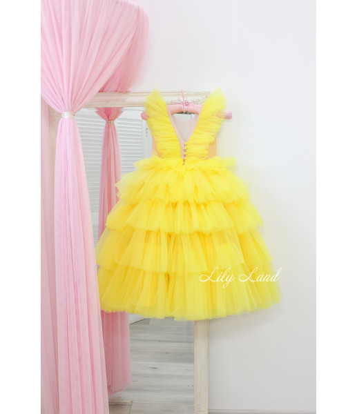 Детское нарядное платье Вероника, цвет желтый