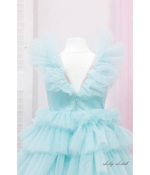 Детское нарядное платье Вероника, цвет тиффани