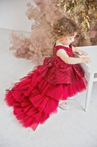 Детское нарядное платье Вивьен, цвет бордо