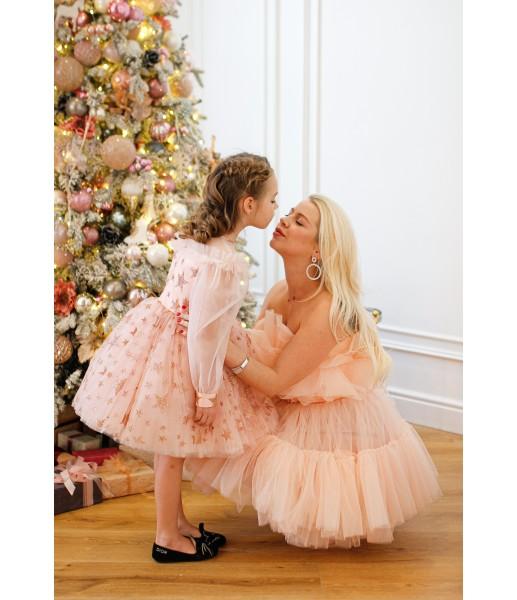 Детское нарядное платье Звезда, цвет розовая пудра с золотом
