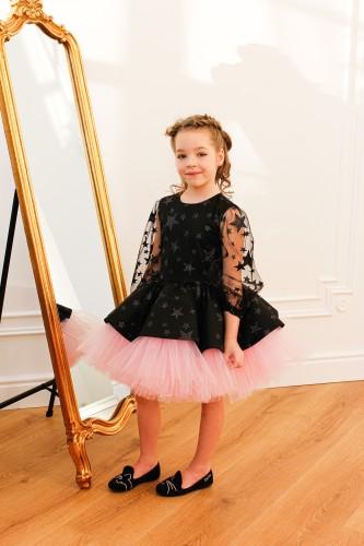 Детское нарядное платье Звезда, цвет черный с розовым