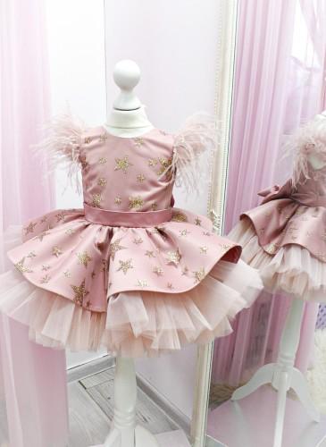 Детское нарядное платье Звезда, цвет пудра с золотом