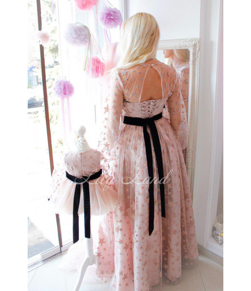 Детское нарядное платье Звезда, цвет розовая пудра с бархатом
