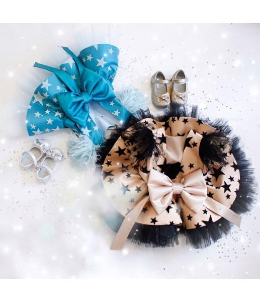Детское нарядное платье Звезда, цвет беж с черным