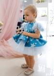 Детское нарядное платье Звезда, цвет голубой с белым