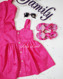 Комплект нарядных  платьев из сатина. Ярко малиновый цвет