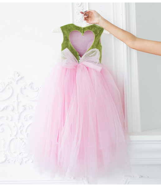 Платье Ангельское сердце, цвет олива и розовый