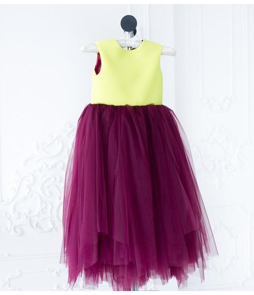 Платье Ангельское сердце, цвет марсала и желтый
