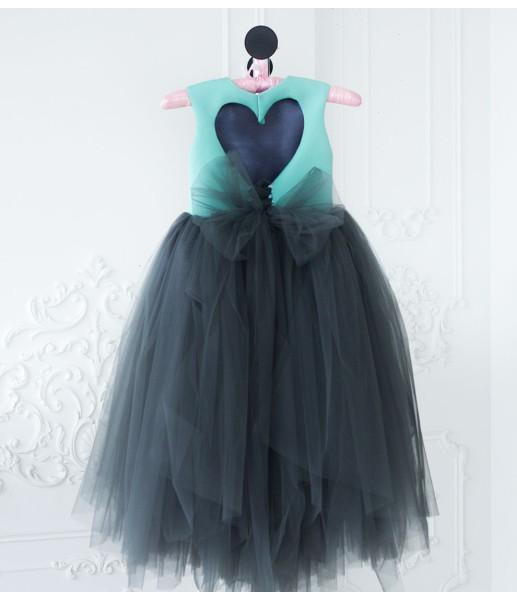 Платье Ангельское сердце, цвет графит и мята