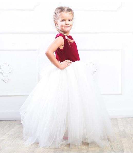 Платье Ангельское сердце, цвет бордо и айвори