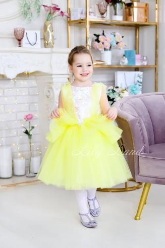 Детское платье Барбара желтое  с Зд кружевом на топе