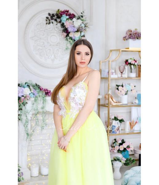 Комплект платьев Барбара жёлтое  с Зд кружевом на топе