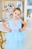 Детское платье Барбара голубое  с Зд кружевом на топе