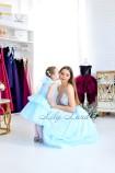 Комплект платьев Барбара голубое  с Зд кружевом на топе