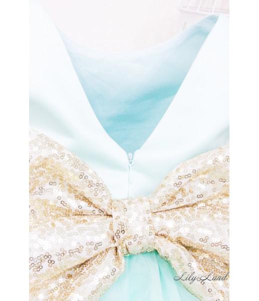Детское платье Бруклин, серебряная пайетка голубой фатин