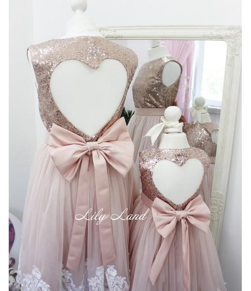 Комплект платьев Амели, цвет розовая пудра с пайеткой