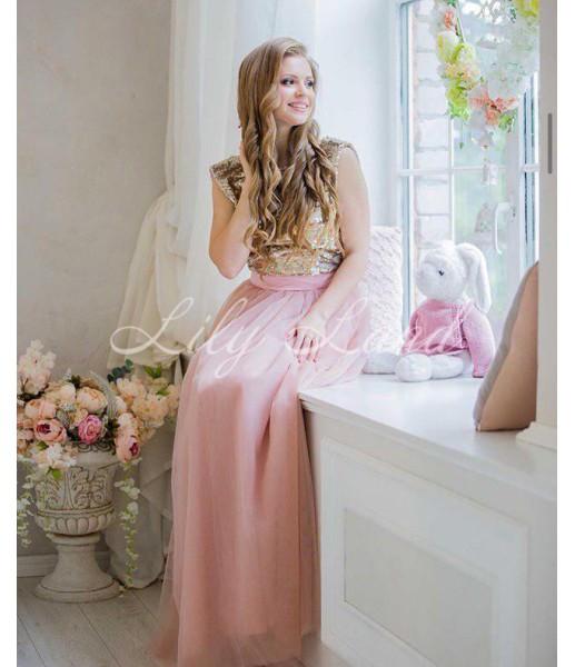 Комплект нарядных платьев, из пайетки золота и  пудрового фатина