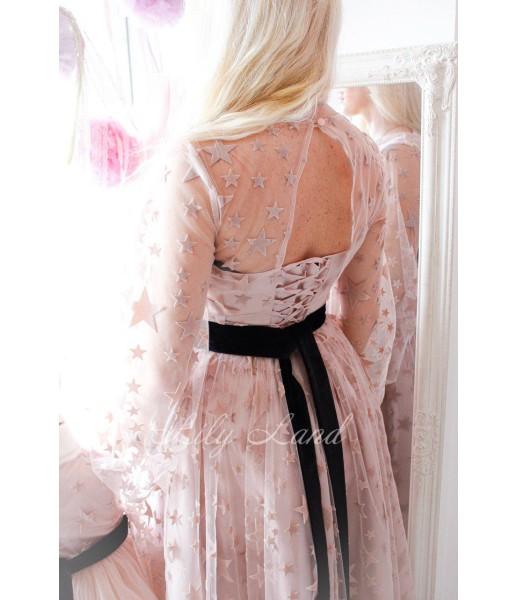 Платье Мэри в пудровом цвете с сеткой со звездами