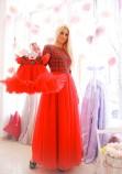 Комплект платьев Белль новогодний красный