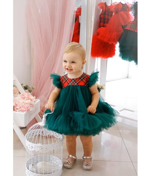 Комплект платьев Белль новогодний зеленый