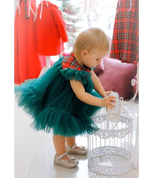 Детское платье Белль, новогоднее зеленое