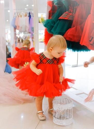 Детское платье Белль, новогоднее красное