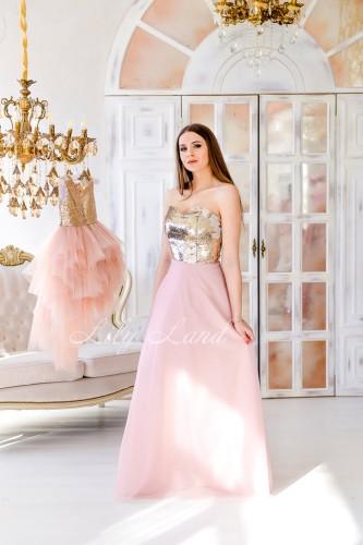 Комплект платьев Доминика золотая пайетка с пудровой юбкой
