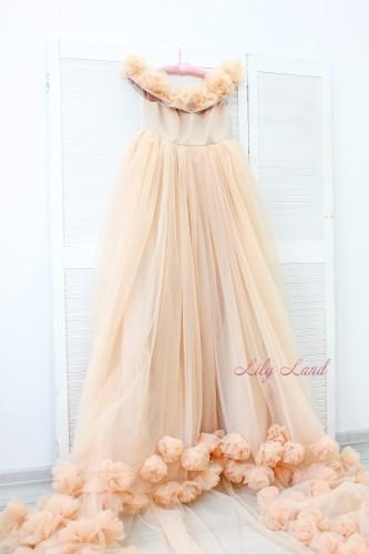Детское нарядное платье Ева, цвет беж