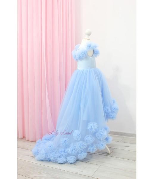 Детское нарядное платье Ева, цвет голубой