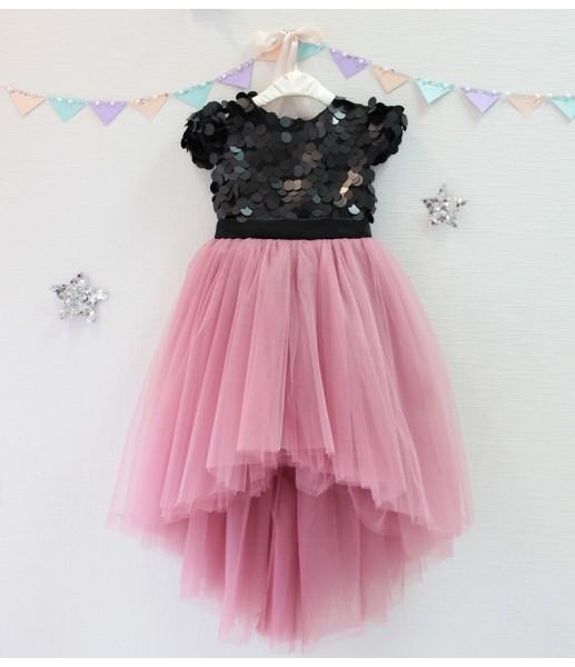 Детское платье Фатиновый рай, цвет черный и чайная роза