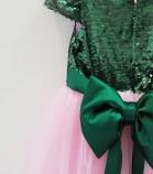 Детское платье Фатиновый рай, цвет зеленый и розовый