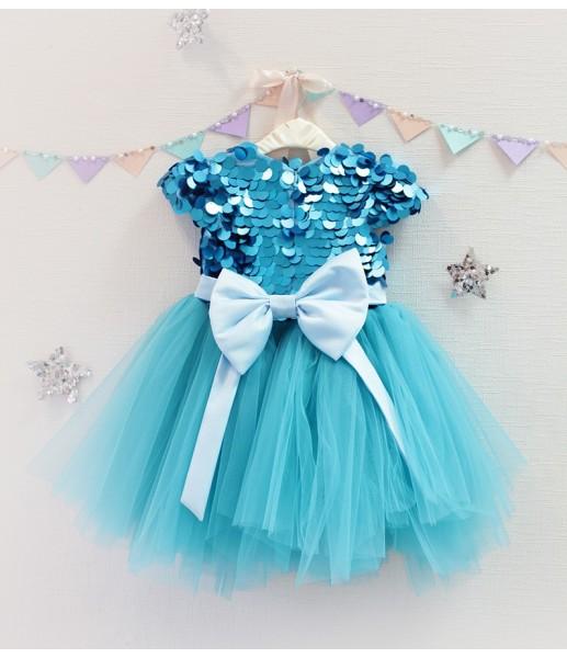 Детское платье Фатиновый рай, цвет аквамарин