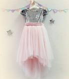 Детское платье Фатиновый рай, цвет серебро и розовый