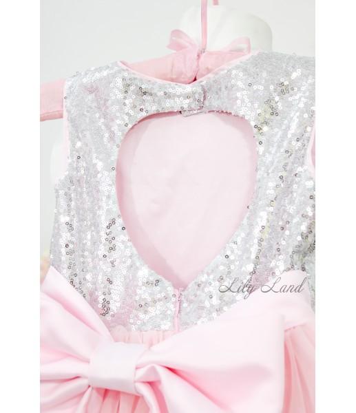 Детское платье Фатиновый рай, цвет серебро с розовым
