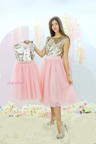 Комплект нарядных платьев Фатиновый Рай, цвет пудра и пайетка золото