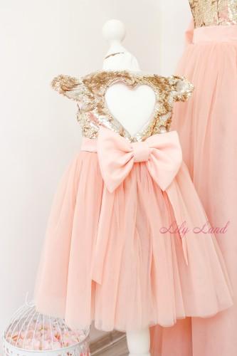 Детское платье Фатиновый рай, цвет золото и пудра