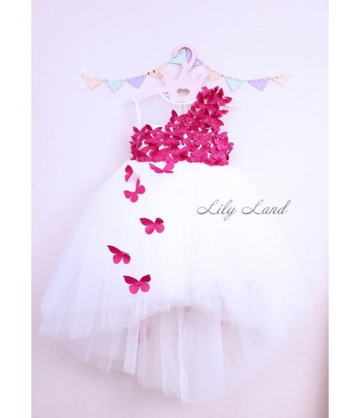 Детское платье Флер,цвет айвори бабочки малиновые