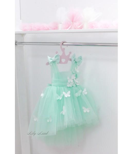 Детское платье Флер,топ открытый на плечах бретельки из евро фатина цвет мята