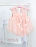 Детское платье Флер,топ открытый на плечах бретельки из евро фатина цвет персик