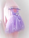 Детское платье Флер,топ открытый на плечах бретельки из евро фатина цвет лаванда