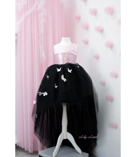 Детское платье Флер, топ розовая розовая пайетка черный евро фатин